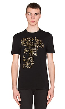 VERSACE Half Medusa Studded Tee in Black/Gold