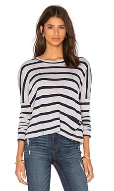 Viktoria + Woods Direction Boxy Crop Sweater in Grey & Navy Stripe