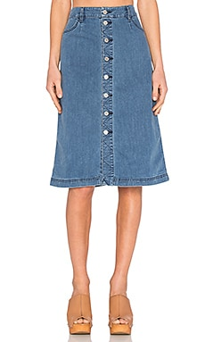 Newton Midi Skirt in Vintage Denim