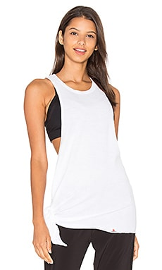 Slub Stripe Meditation Tie Tank in White
