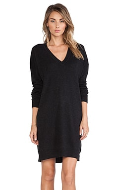Vince V Neck Tunic in Heather Grey & Black