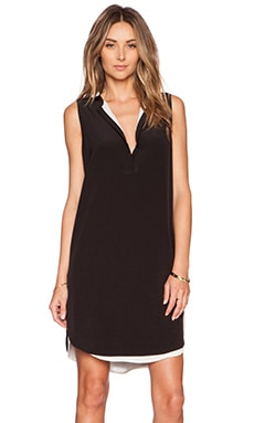 Vince Sleeveless Double Layer Dress in Black & Off White