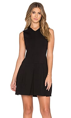 Vince Pleat Vee Dress in Black
