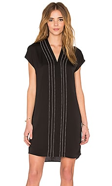Vince Long Sleeve Embroidered Vee Dress in Black & Off White