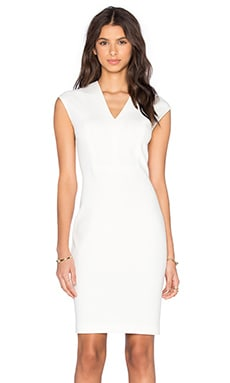 V-Neck Bib Sheath Dress in Off White