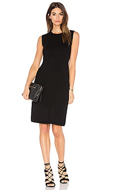 Vince Plaited Rib Shift Dress in Black