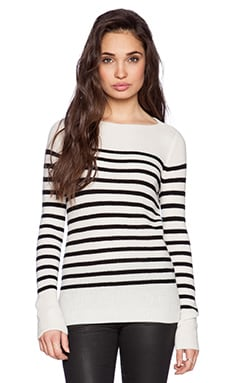 Vince Ribbed Stripe Sweater in Off White & Black