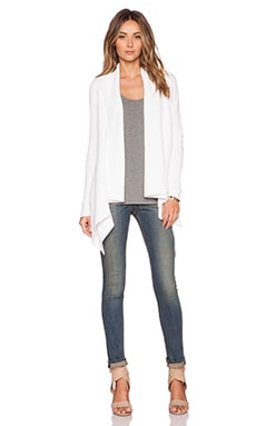 Vince Drape Front Cardigan in Optic White