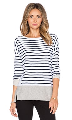 Vince Multi Color Stripe Boatneck in Off White Coastal