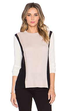 Vince Colorblock Sweater in New Buff & Stucco