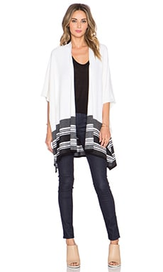Vince Graphic Stripe Poncho in Off White & Black