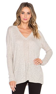 Vince Long Sleeve V Neck Sweater in Neutral
