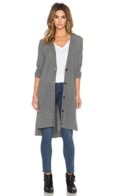 Vince Directional Rib Long Cardigan in Heather Stone
