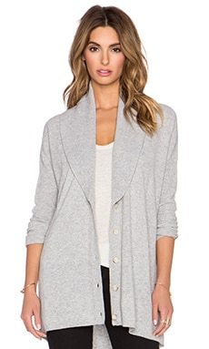 Vince Directional Rib Cardigan in Heather Steel