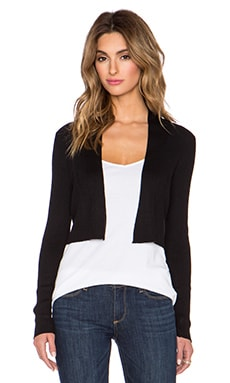 Vince Skinny Rib Crop Cardigan in Black