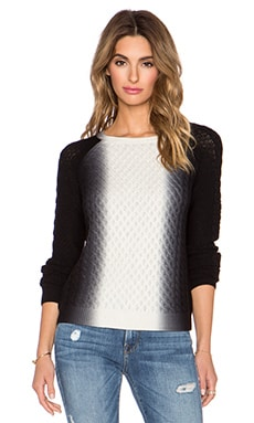 Vince Vertical Dip Dye Cable Sweater in Off White & Black