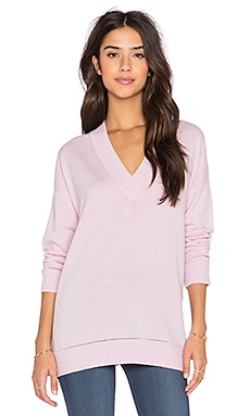Vince Pointelle Trim V Neck Sweater in Orchid