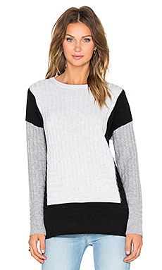 Vince Colorblock Intarsia Crew Sweater in Heather Cloud, Black & Heather Steel