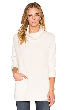 Vince Front Pocket Turtleneck Sweater in Off White