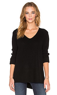 Vince Cashmere Rib V Neck Sweater in Black