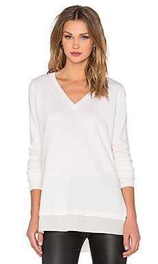 Mixed Media Slim V-Neck Sweater in Off White