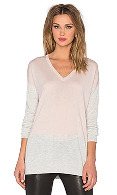 Vince Colorblock Easy Fit V-Neck Sweater in New Buff & Heather Cloud