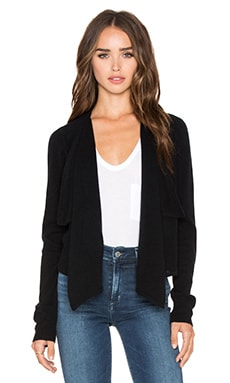 Vince Rolled Edge Drape Front Cardigan in Black