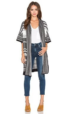 Multi Stripe Cardigan in Black & Off White