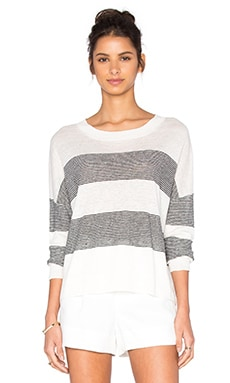 Vince Stripe Pullover in Optic White & Black