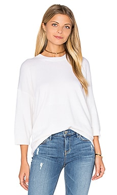 3/4 Sleeve Cashmere Pullover in Off White