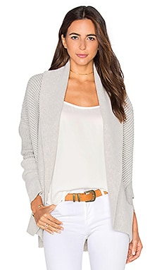 Vince Colorblock Rib Cardigan in Heather Cloud & Heather Steel