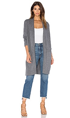 Vince Side Slit Cardigan in Heather Stone
