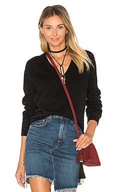 Low V Neck Sweater in Black