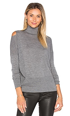 Split Shoulder Sweater en Heather Stone