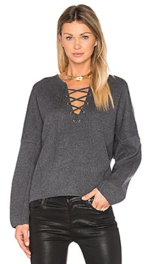 Lace Front Sweater in Heather Graphite