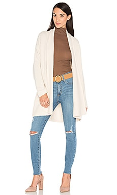 Textured Shawl Cardigan in Off White
