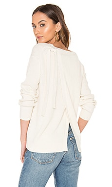 Long Sleeve Slit Back Sweater in Off White