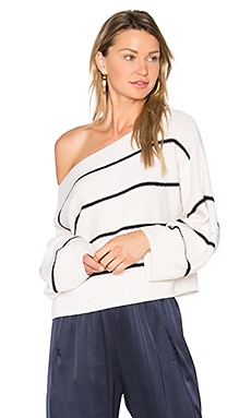 Stripe Cold Shoulder Sweater in Off White & Black