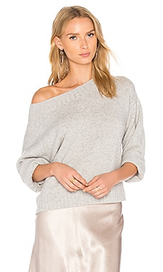 Boxy Off the Shoulder Sweater in Heather Grey