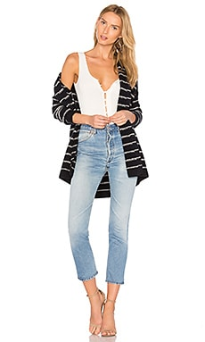 Stripe Cardigan in Coastal & Off White