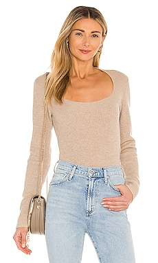Ribbed Square Neck Sweater Vince $345 NEW