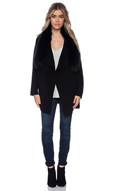 Vince Arctic Fox Fur Collar Drape Cardigan in Black