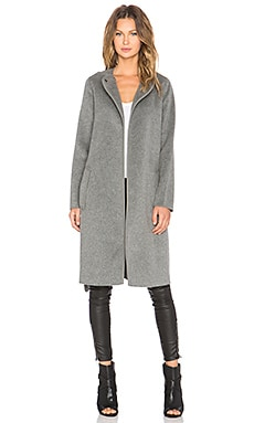 Vince Belted Car Coat in Charcoal Melange