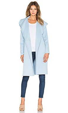 Vince Double Face Drape Neck Coat in Chambray