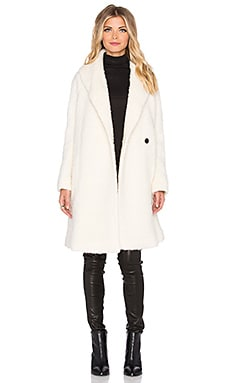 Vince Fuzzy Knit Boucle Coat in Winter White