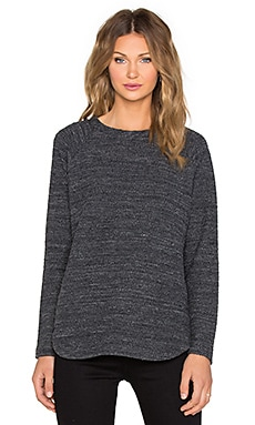 Vince Textured Terry Raglan Sweatshirt in Heather Black