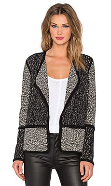 Vince Texture Drape Front Jacket in Black Combo