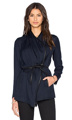 Leather Trim Drape Neck Jacket in Coastal