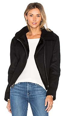 Double Face Lamb Shearling Moto Jacket in Black