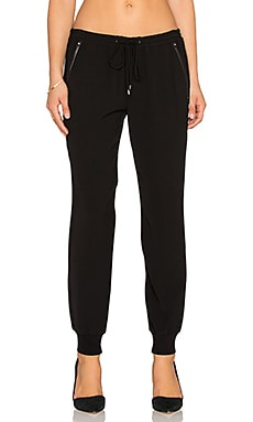 Vince Leather Trim Jogger in Black